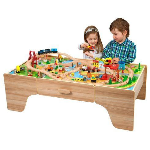 Superb 100 Piece Wooden Train Set with Table Now At Smyths Toys UK! Buy Online  sc 1 st  Pinterest & Superb 100 Piece Wooden Train Set with Table Now At Smyths Toys UK ...