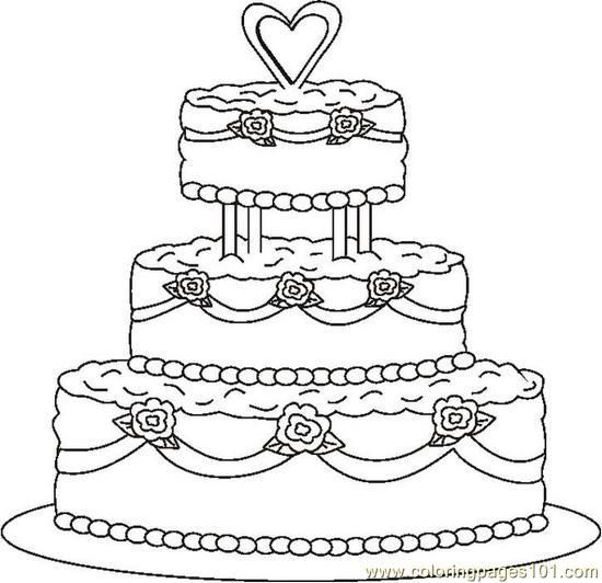 Weddingcake1bw Www Coloringpages101 Com Site Free Colouring