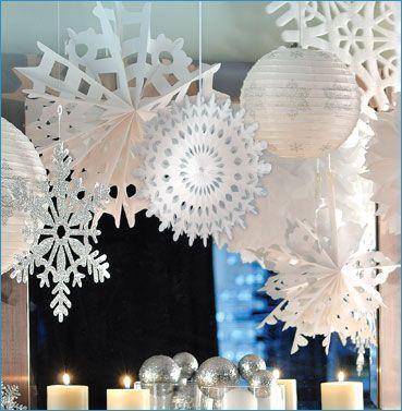 White Glitter Snowball Garland Iridescent Pom Pom Fairy Theme Winter Wonderland