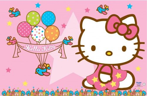 Hello Kitty Birthday Wallpaper Pink Background And Balloons For B Day Party Hd Wallpapers For Fr Hello Kitty Wallpaper Hello Kitty Birthday Kitty Wallpaper