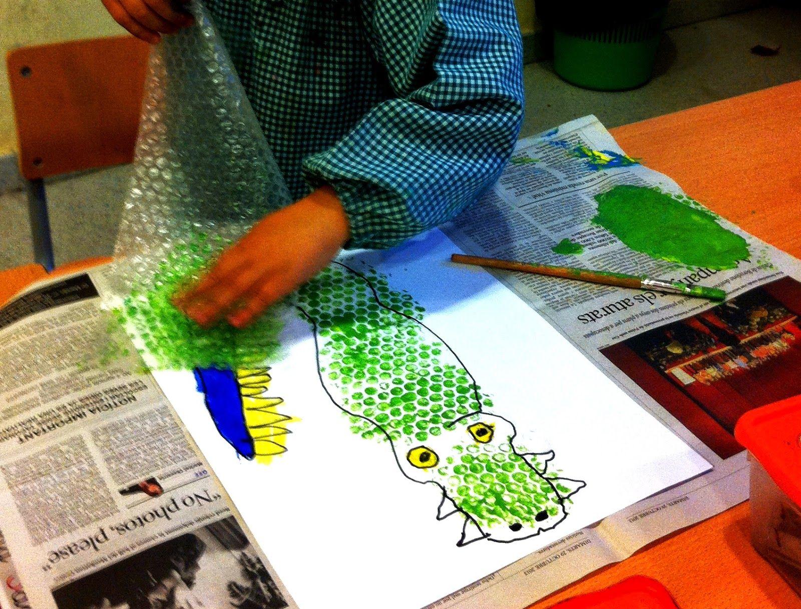 Crocodiles Using Bubble Wrap Implied Texture