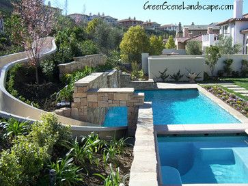 Calabasas pool with water slide and outdoor kitchen los - Salt water swimming pools los angeles ...