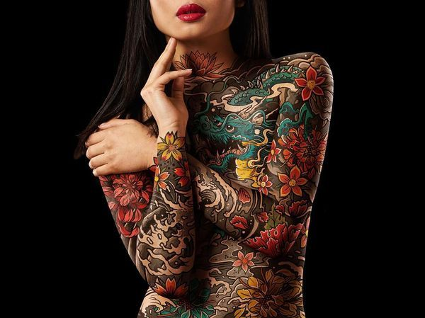 women full tattoos body with Nude