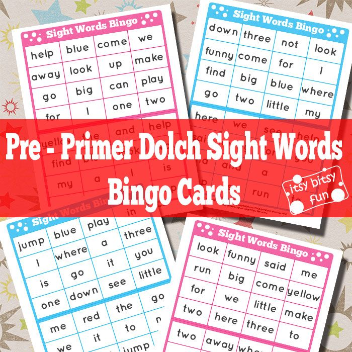 FREE Pre- Primer Sight Words Bingo Cards | Kinder printables und Kind