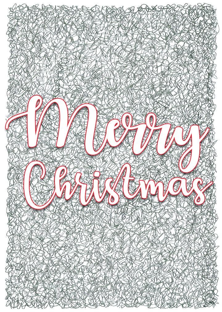 Contemporary Hand-drawn Merry Christmas, Christmas Card   Christmas ...