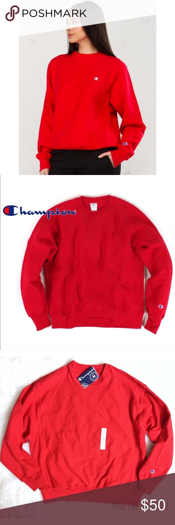 Champion Reverse Weave Red Crewneck Sweatshirt Red Crewneck Sweatshirts Champion Reverse Weave [ 1740 x 580 Pixel ]
