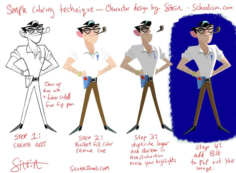 Simple Character Design Tutorial : Stephen silver quot design tip four step simple coloring