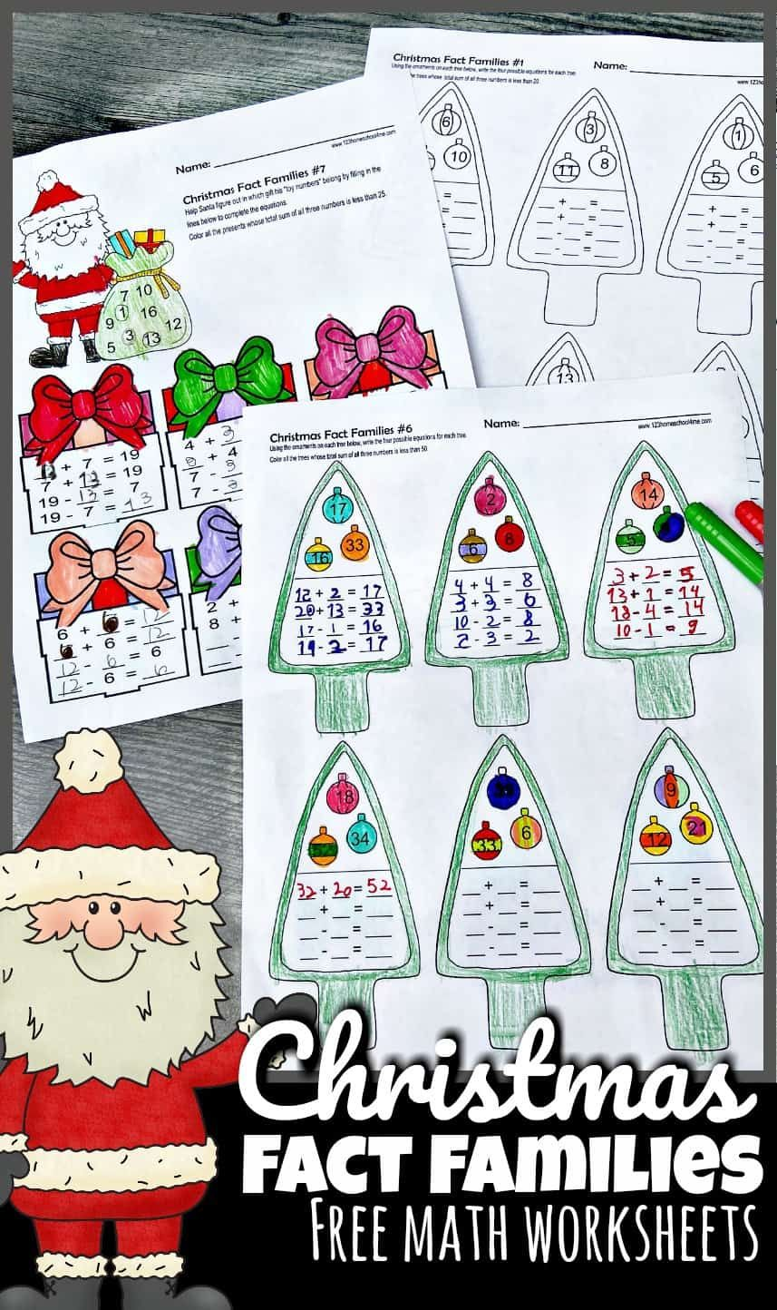 Free Christmas Fact Families Addition And Subtraction Math Worksheets Christmas Trivia Christmas Math Worksheets Fact Families Free christmas addition and subtraction