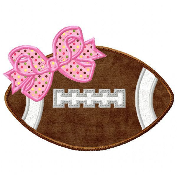 Football with Bow Applique | embroidery files I own | Pinterest