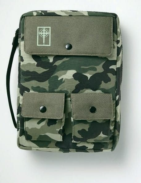 Cargo Nylon W/Handle Bible Cover - Large Camouflage