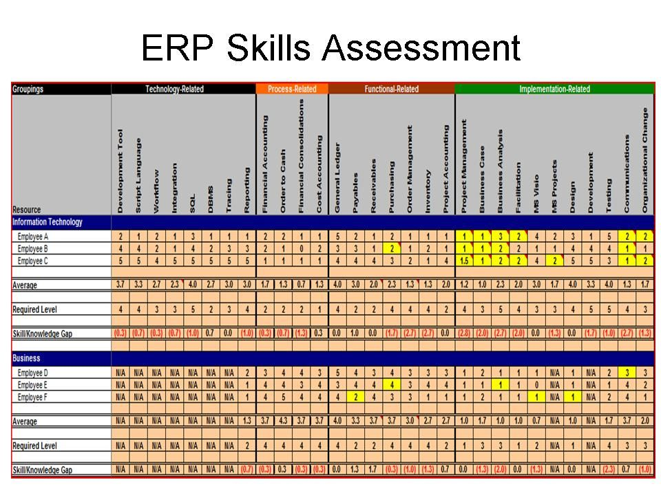 Conducting ERP Assessment to Maximize ERP ROI Project management - training needs analysis template