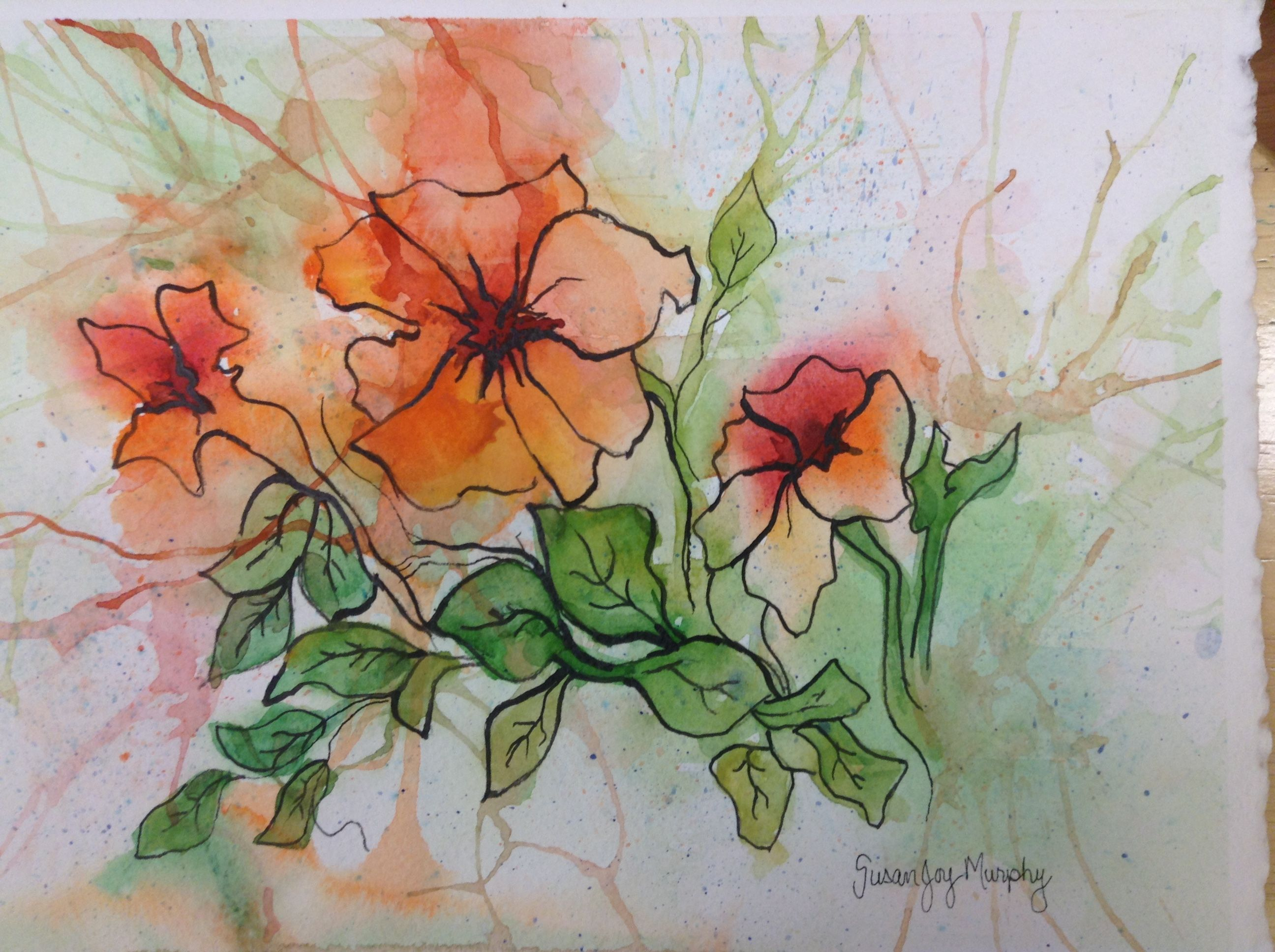 Floral Watercolor Use Black Ink To Trace Or Draw Your Flowers