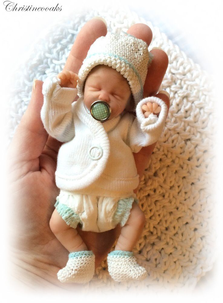 Ooak Hand Sculpted Mini Polymer Clay Baby Art Doll Miniature Boy Clay Baby Baby Dolls Baby Art