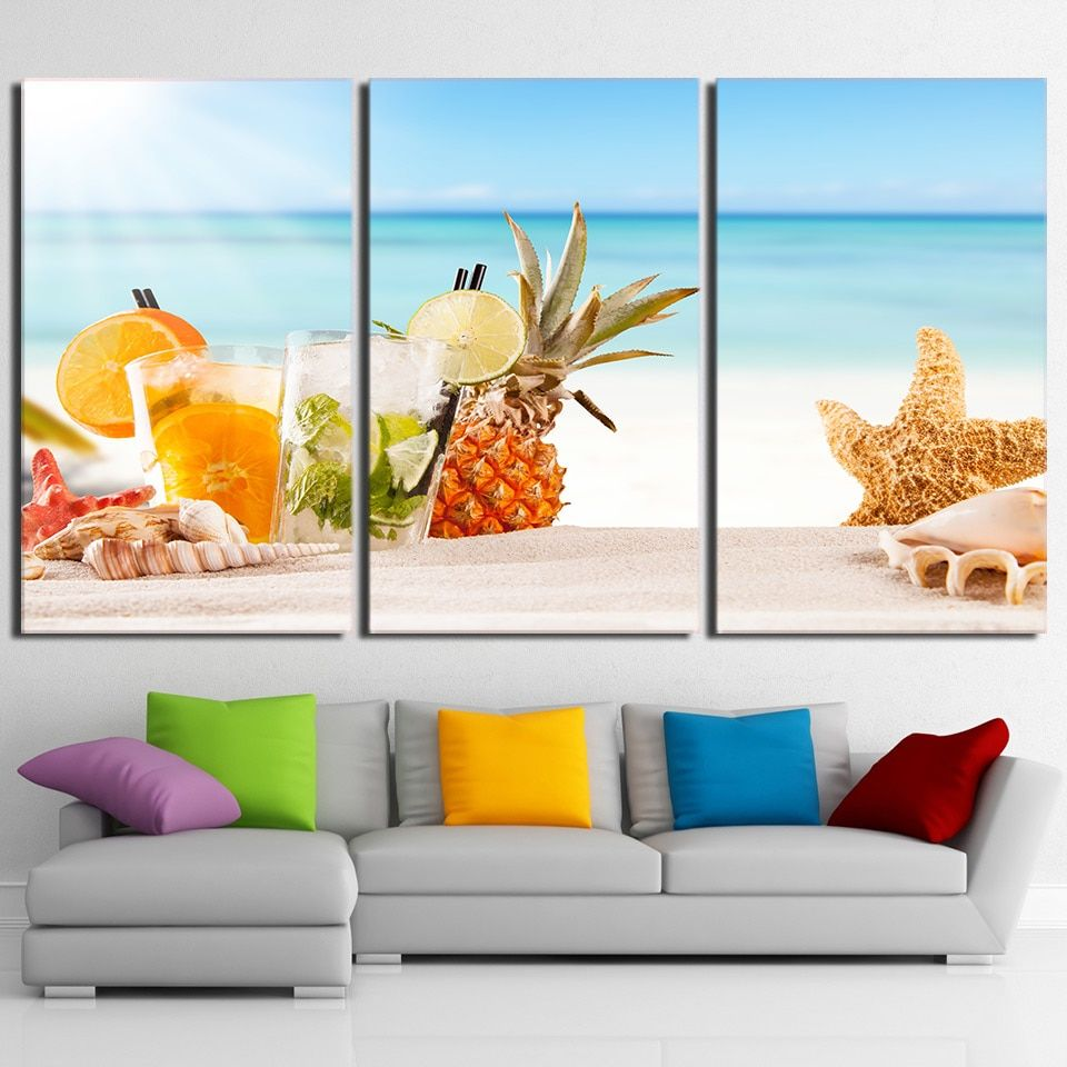 3 Pieces Ice Fruit Drink Paintings Modern Beach Shells Canvas Wall Art Pictures 3 Piece Canvas Art Canvas Wall Art