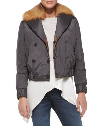 Reversible Fur-Collar Bomber Jacket by Brunello Cucinelli at Bergdorf Goodman.