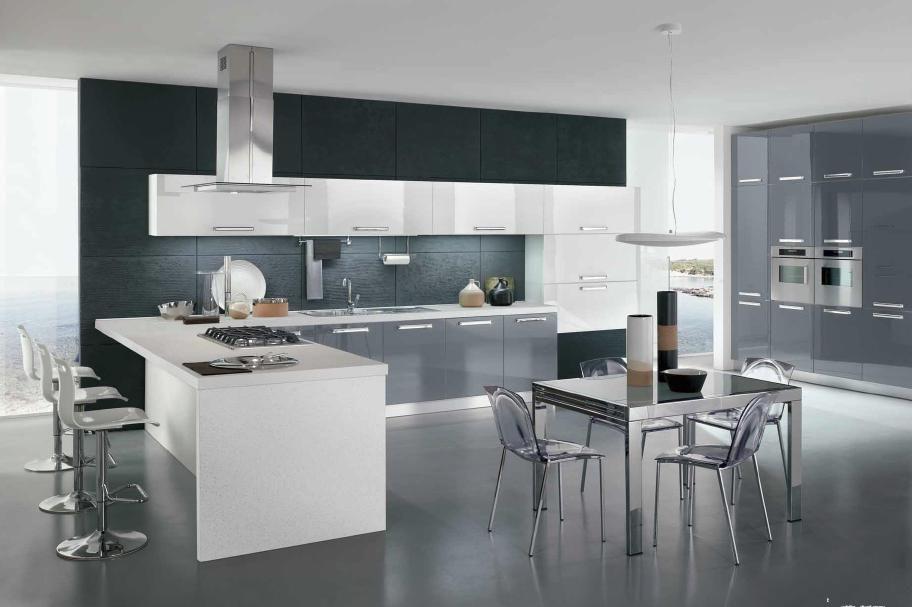Cucina moderna bianca e grigia cerca con google home for Cucina moderna nera e bianca