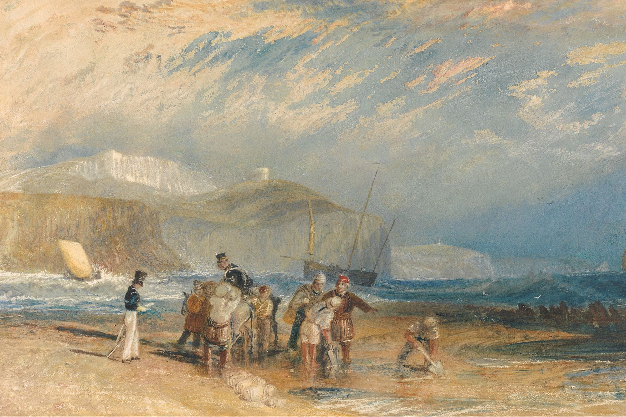 COAST FROM FOLKESTONE HARBOUR TO DOVER. suggested date : 1829 / 1830. watercolour. 29 × 45 cm. Provenance : Turner's Picturesque Views in England and Wales. USA. Paul Mellon Collection. Yale Center for British Art.