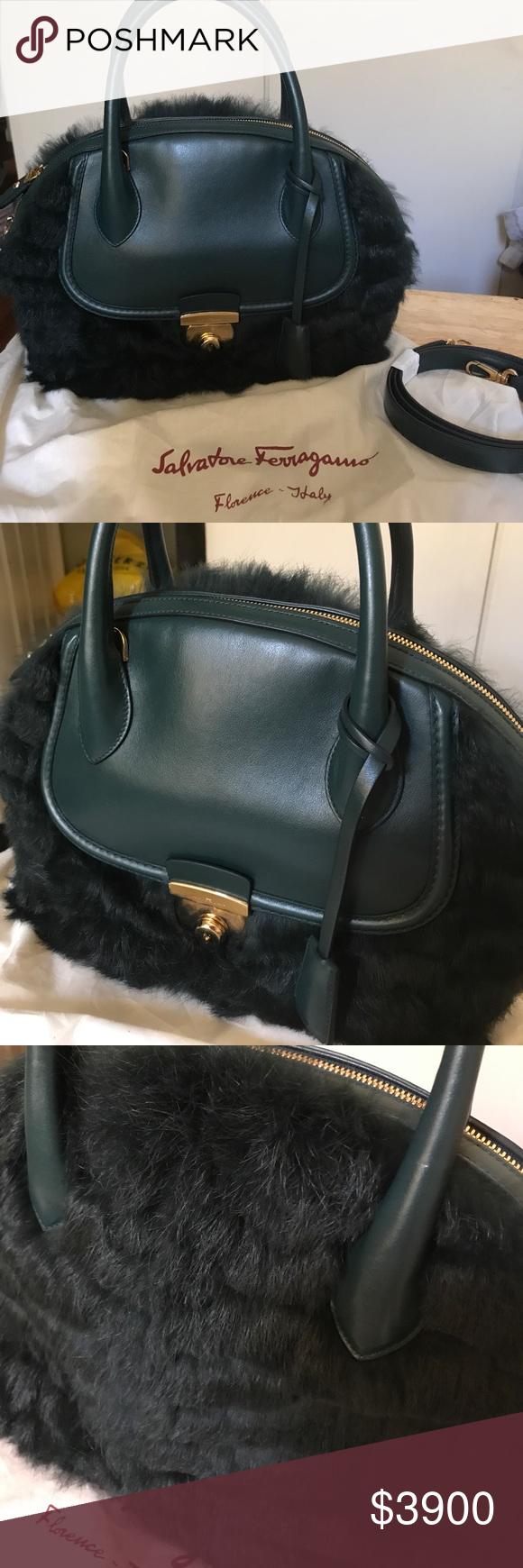 Salvatore Ferragamo Rabbit Fur Fiamma Excellent condition like brand new!  Used it a couple of fe965196cbda9