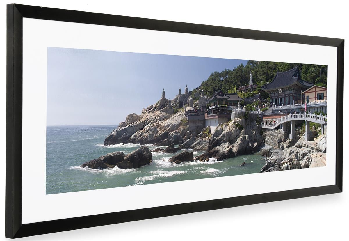 36 x 12 Panoramic Frame for Wall Mount Use, Removable White Mat ...