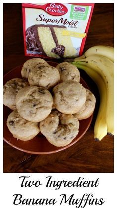 Two ingredient banana muffins! This is THE recipe to use up your extra ripe bananas. A cake mix, some bananas and about 20 minutes and you have banana muffins! - Momcrieff