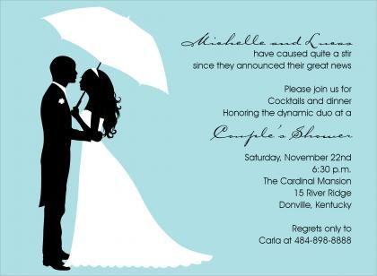 S Shower Silhouette Bali Wedding Invitations