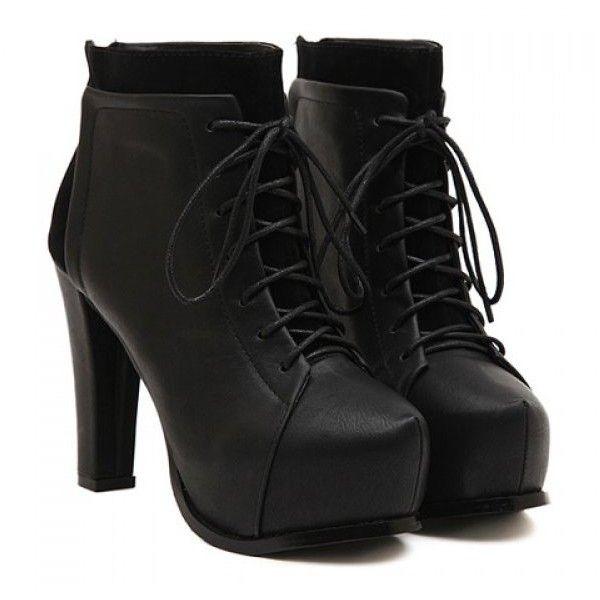 228fd7d4aeb Rihanna Style   Photo Chunky Heel Ankle Boots