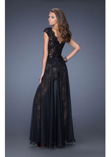 black floor length chiffon gown