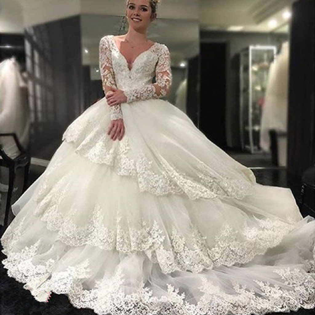 Gorgeous Long Sleeve V-neck Open Back Lace Ball Gown Wedding Party ...