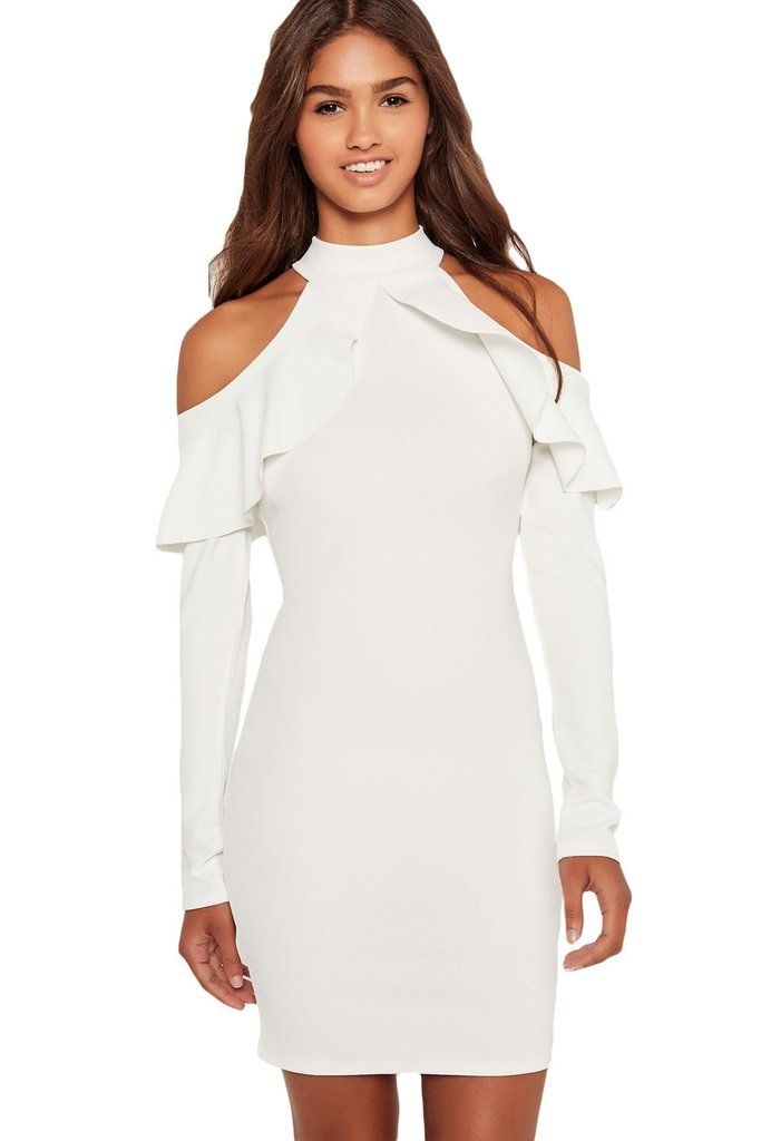 99165efb86 You have a heap of reasons to fall in love with this adorable piece! This White  Frill Open Shoulder Long Sleeve Dress will be your new go to piece for the  ...