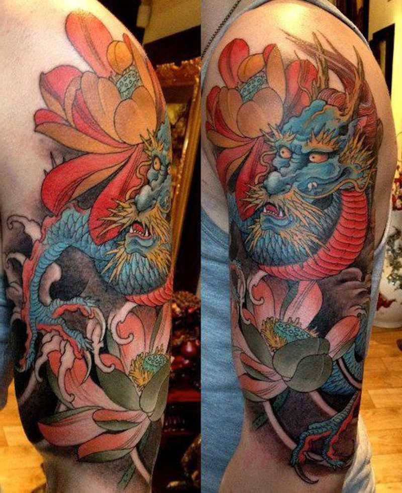 Japanese Dragon Traditional Tattoo Ideas for Men Arm