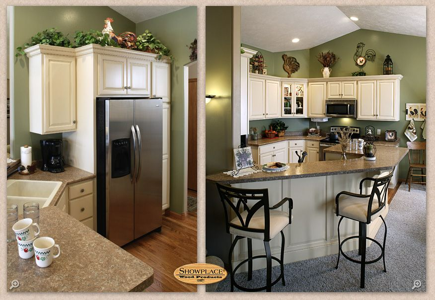 Note how the Showplace refrigerator cabinet ties the design together. The soaring ceiling and ...