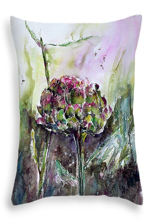 """#Artichoke #Watercolor and #Ink by #Ginette #Throw #Pillow 20"""" x 14"""""""