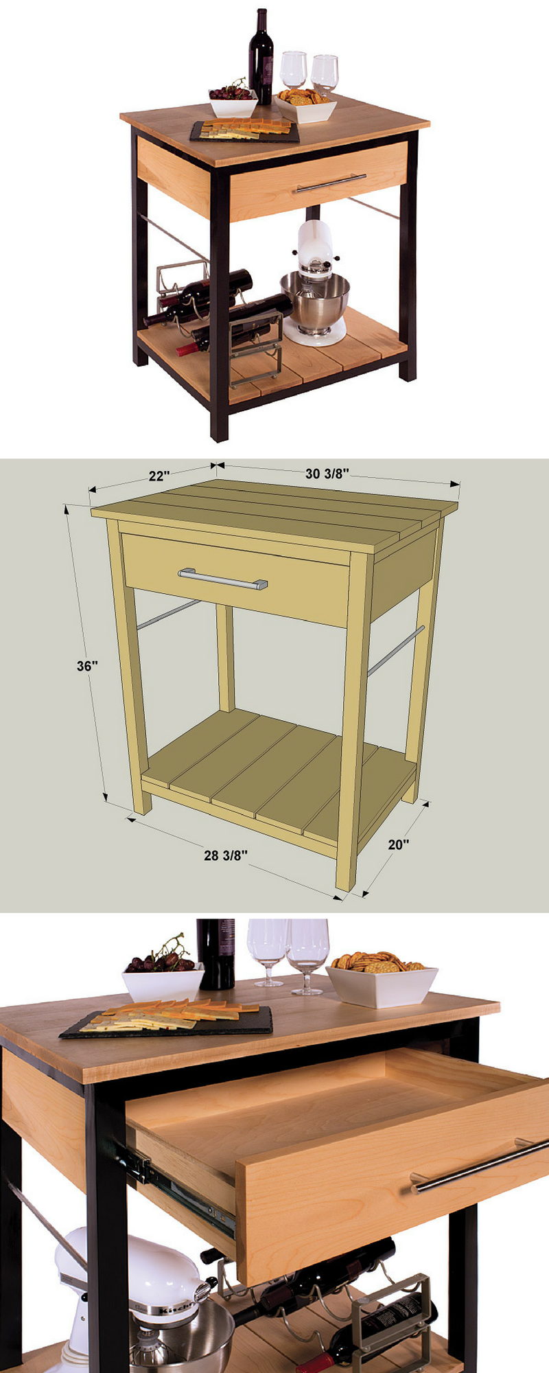 Here's proof that you don't need a lot of space to have a great-looking, hardworking island in your kitchen. This one measures less than 2' x 3', but it packs a lot of storage and work area into that small space. You can build one yourself with some pine and maple boards and a little bit of plywood.