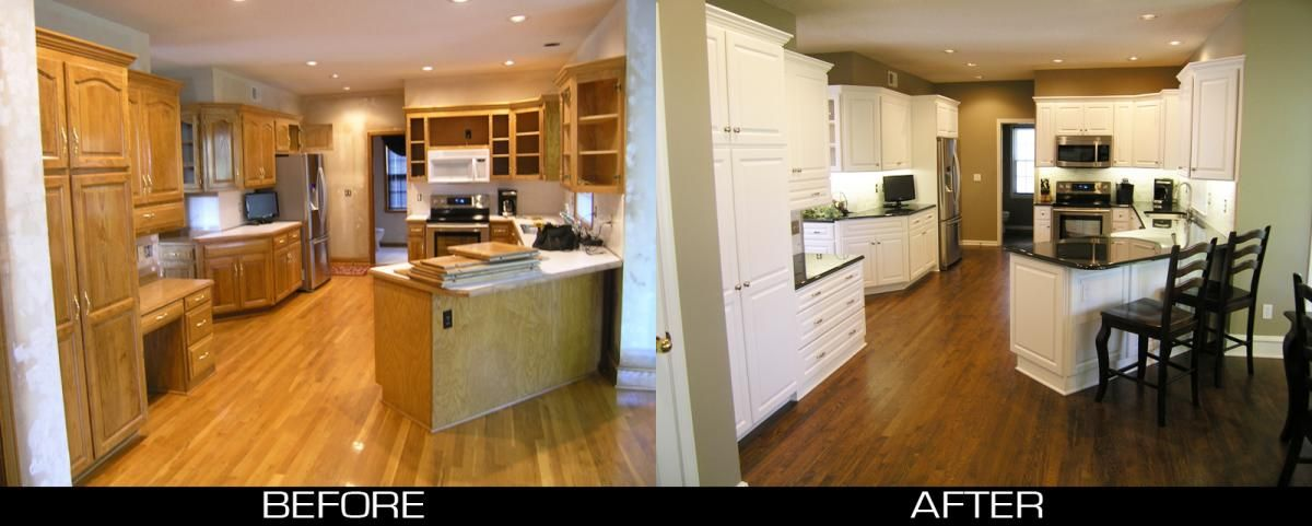 pictures of kitchens with golden oak cabinets transformed from plain golden oak to stunning white - Golden Oak Kitchen Design Ideas