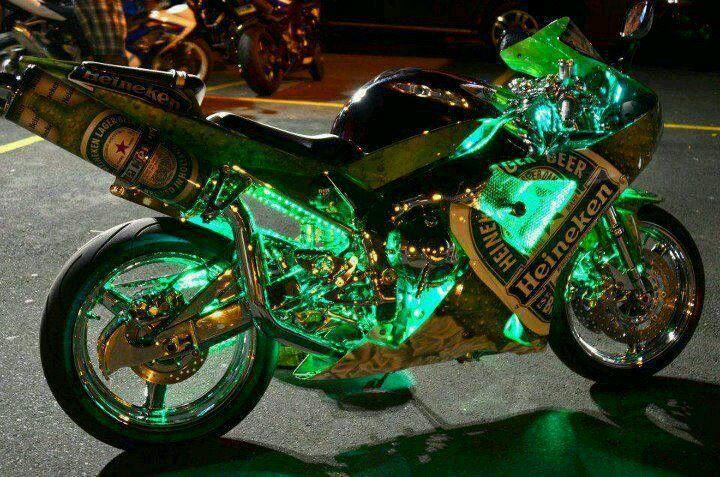 Green bike futuristic motorcycle motorcycle beer bike