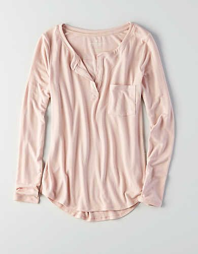 28f26eb8 AEO Henley Long Sleeve T-Shirt, Light Pink | American Eagle Outfitters