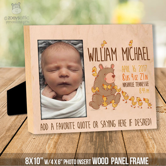 Personalized wood birth statistics frame or wood panel print baby personalized wood birth statistics frame or wood panel print custom colors rustic bear and ducklings new baby gift wood panel negle Image collections