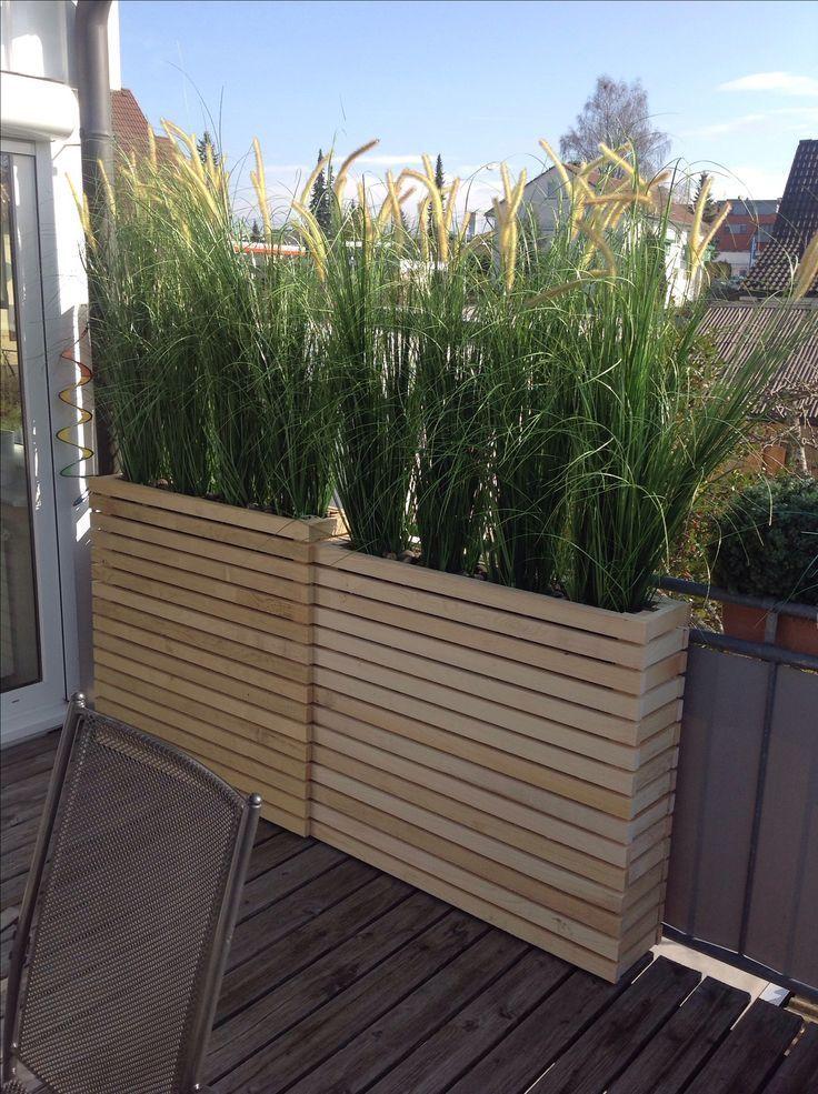 Paletten für die Veranda, Paletten nur an den Enden stehen, lange Tray-Pflanzgefäße einsetzen #palettenideen