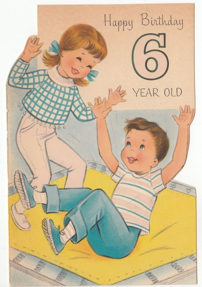 FRONT ONLY Die Cut Girl And Boy Playing 6 Year Old Greeting Card