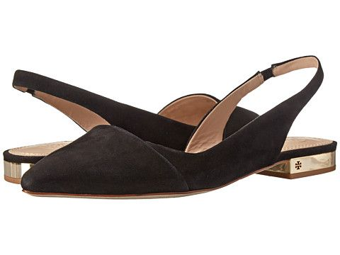 Tory Burch Classic Pointy-Toe Slingback Flat Black - Zappos Couture