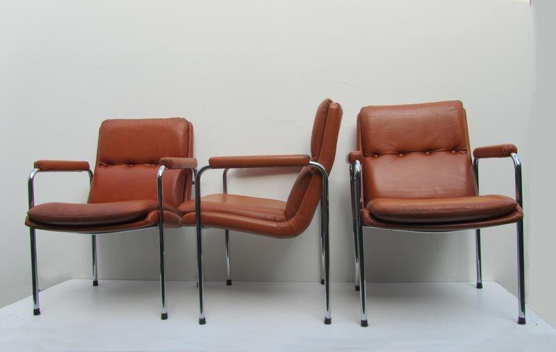 4 Lounge Stoelen.4 Vintage Cognac Leren Lounge Stoelen Artifort Geoffrey Harcourt