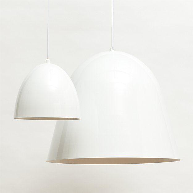 Shop Capitol White Bell Pendant Light Overscaled Light Illuminates Industrial In White Aluminum Suspen Small Pendant Lights Pendant Light Pendent Lighting Bell shaped pendant light
