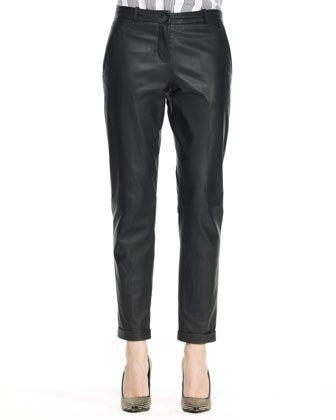 Kanga L Magazine Leather Pants by Theory at Bergdorf Goodman.