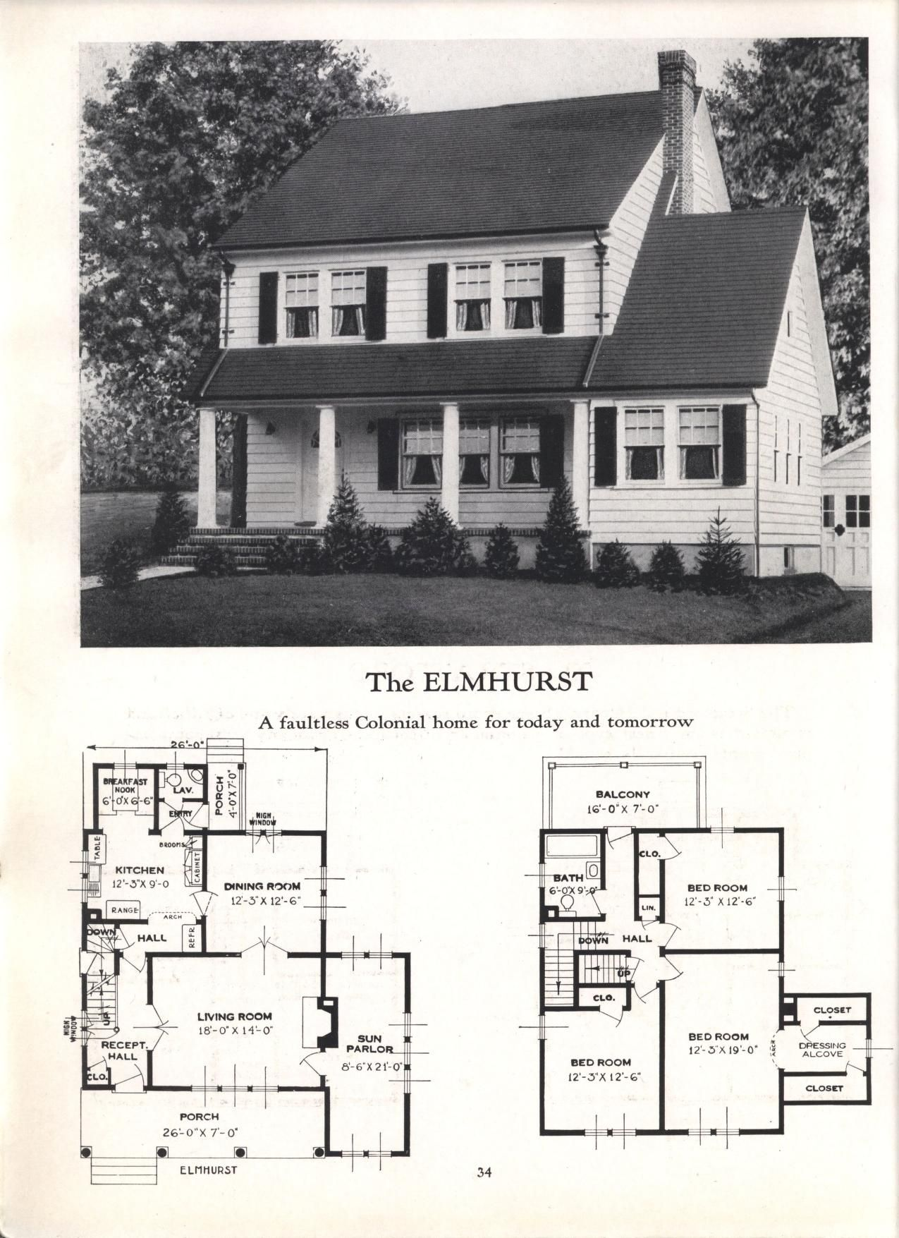 Better Homes At Lower Cost No 17 By Standard Homes Co Publication Date 1930 The Elmhurst Vintage House Plans Colonial House Building Design