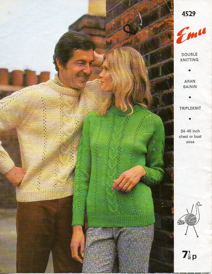 Vintage womens / mens sweater knitting pattern PDF DK aran chunky ...