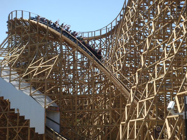 Apocalypse Six Flags Magic Mountain Los Angeles Us Fastest Wooden Coaster Been There Done That Wooden Roller Coaster Best Roller Coasters Thrill Ride
