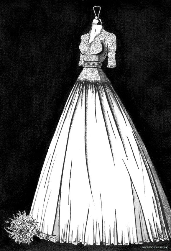 Personalised wedding dress illustrations from Wedding Dress Ink