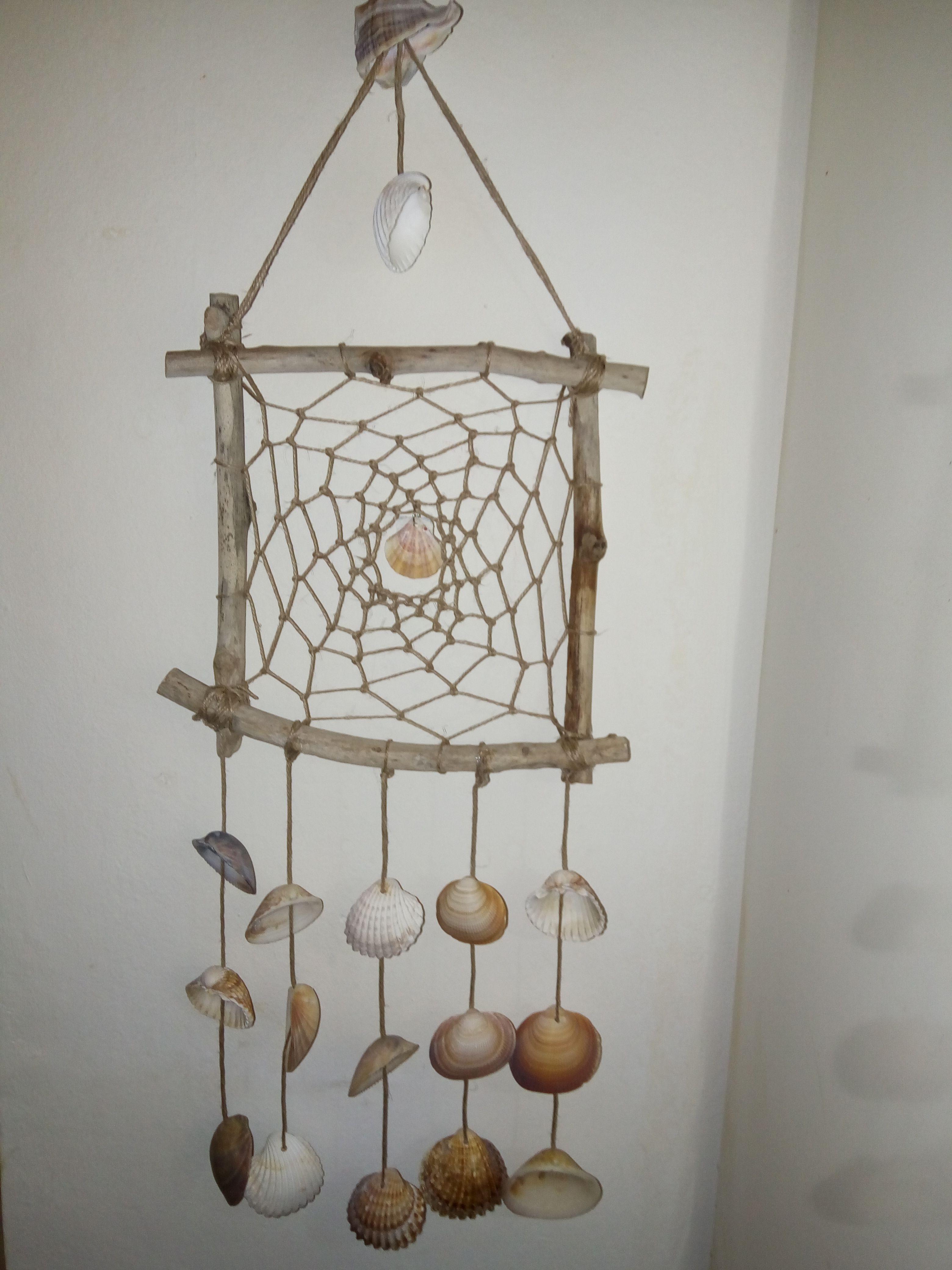 Rustic wind chimes shells diy seashells crafts my for Shell wind chimes diy