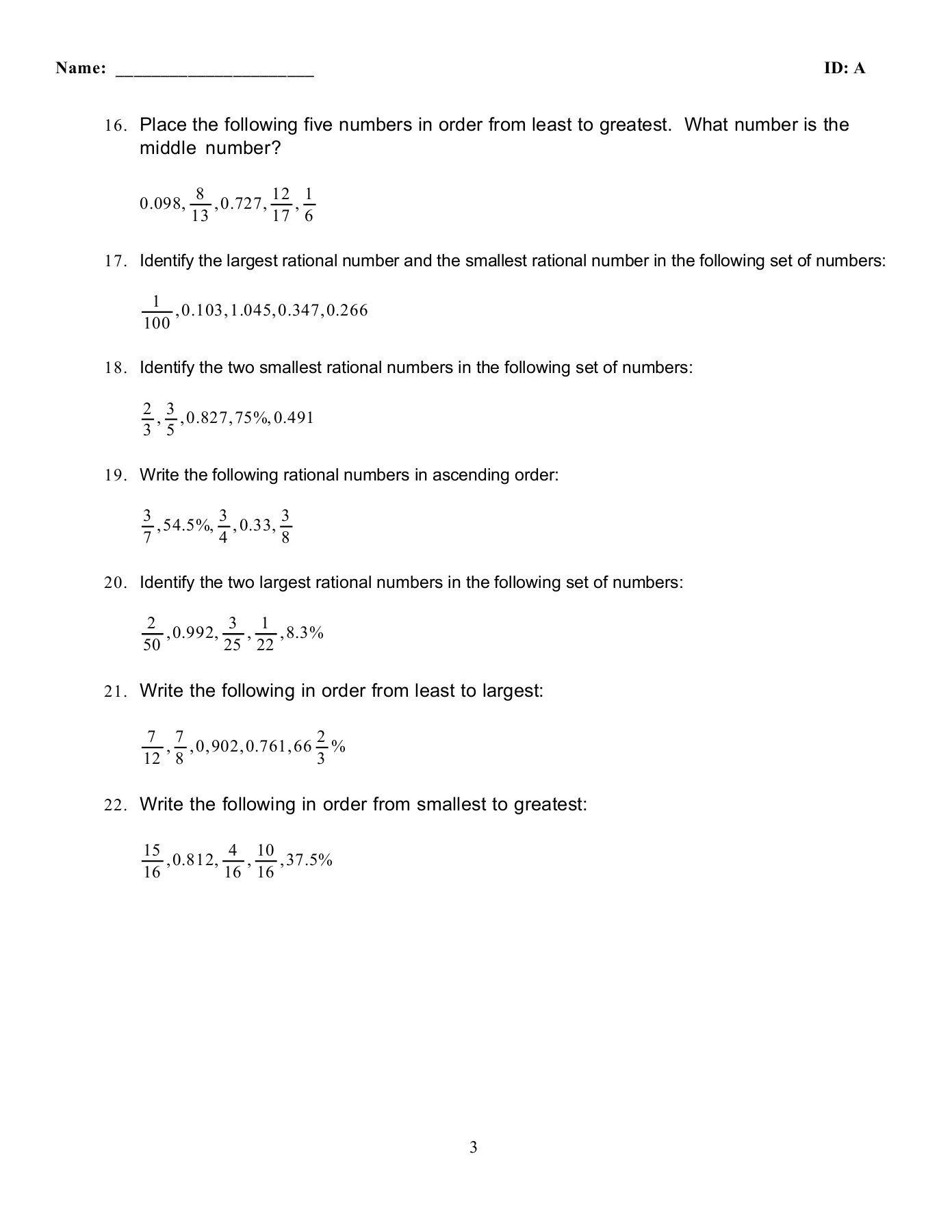 Least To Greatest Worksheets Pare Convert Practice