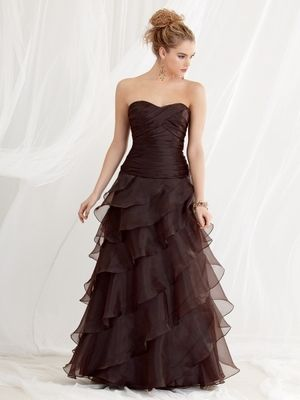 Jordan Fashions style 455 is a Pleated organza bodice with ...
